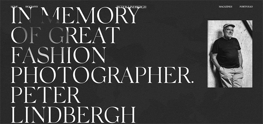 Sito web per fotografo Peter Lindbergh