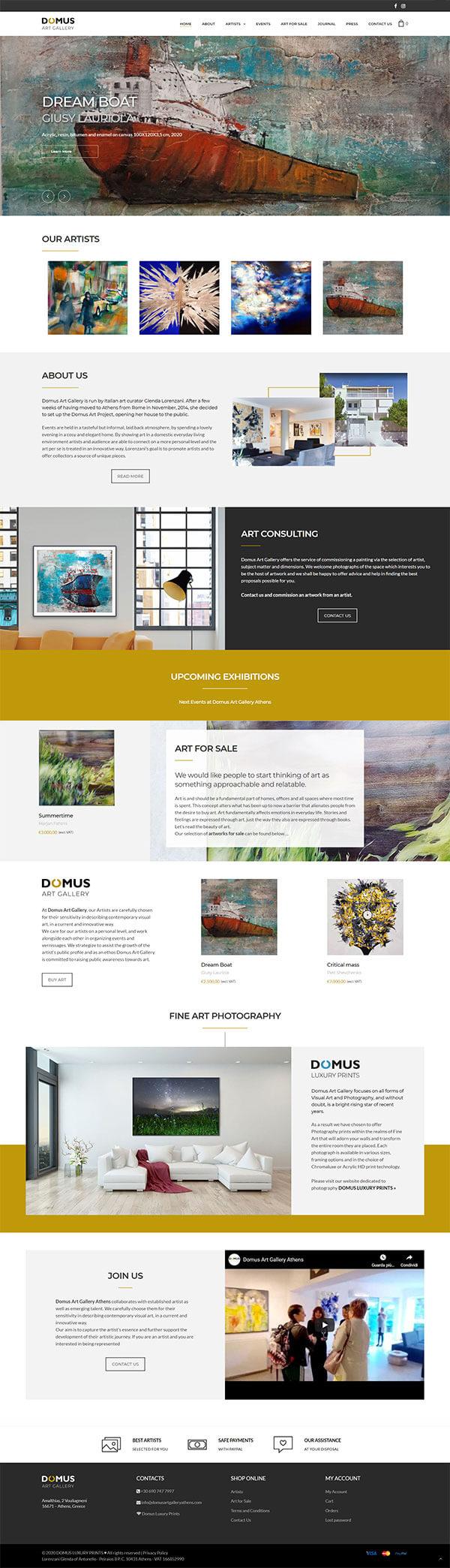 Domus Art Gallery | sito web per galleria d'arte